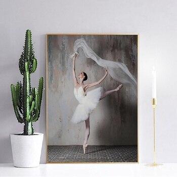 Retro nostálgico bailarina belleza fotos moderna sala de pintura nórdico hogar Decoración de la pared de la lona de arte