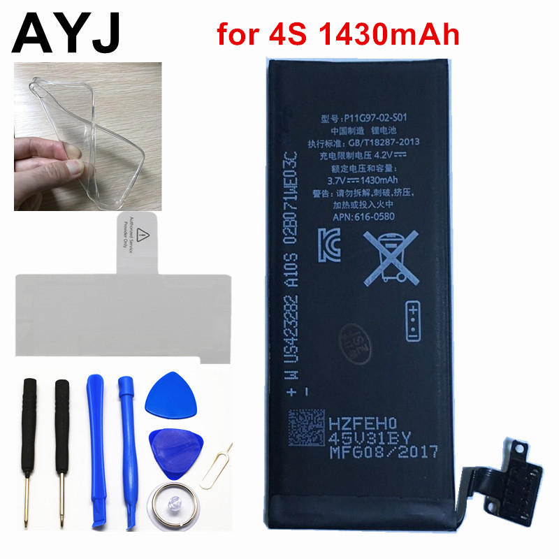 AYJ 100% New AAAAA 1430mAh Battery for iPhone 4 S 4S Real Capacity Zero Cycle Free Repair Tools Kit Battery Tape