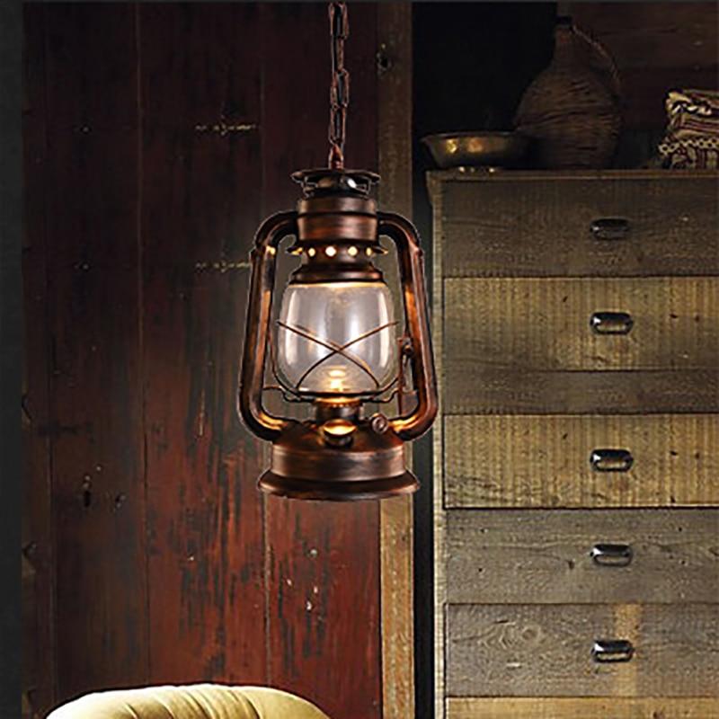 Vintage retro bronze lantern ceiling pendant lamp led lights loft E27 220V for Kitchen Lights Living/dining room/parlor/bar/cafe
