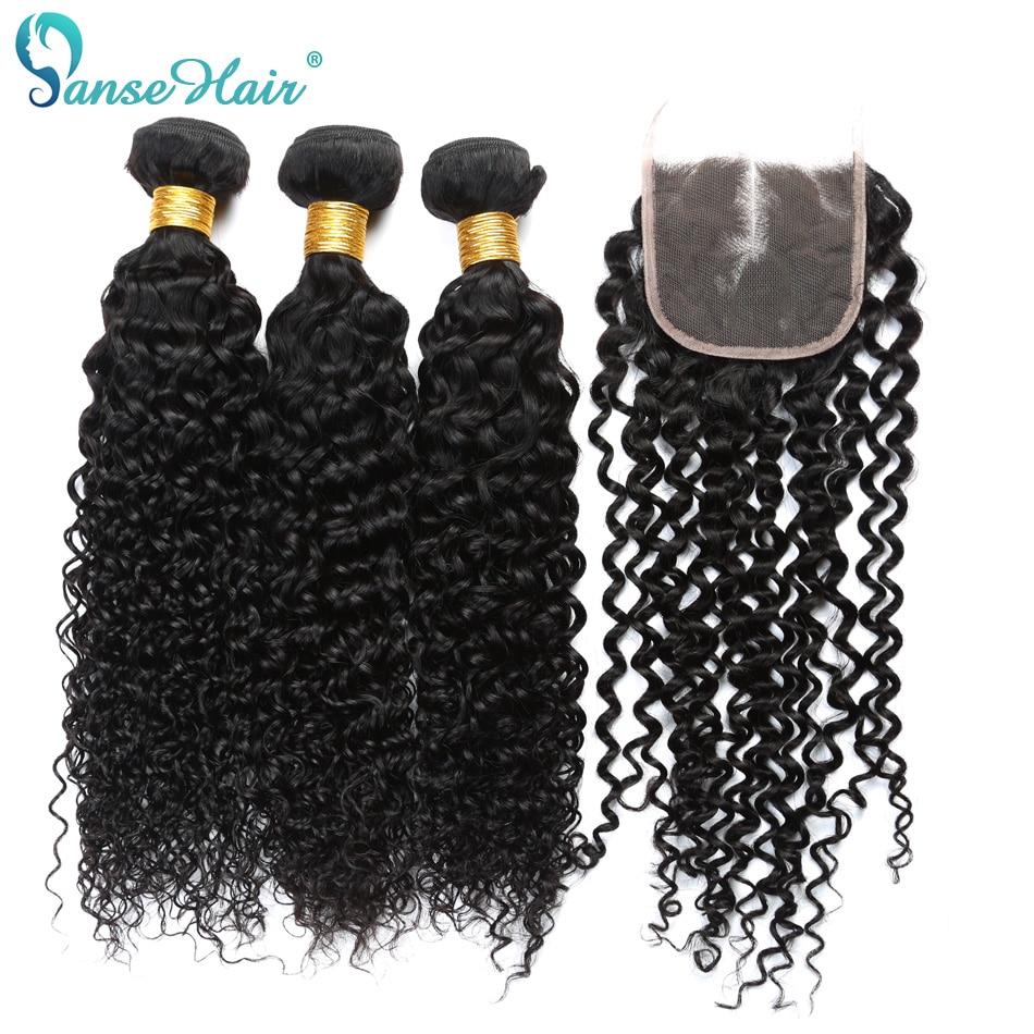 Panse髪マレーシア人間の髪ウィービング3バンドル横糸で1ピース閉鎖4 × 4カスタマイズされた8に28インチ変態巻き毛非レミー  グループ上の ヘアエクステンション & ウィッグ からの 3/4 バンドル留め具付き の中 1