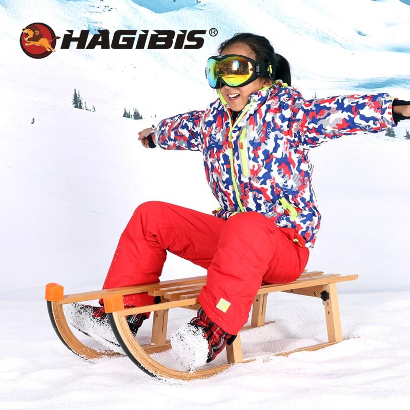 Traîneau à neige HAGIBIS, luge à neige pliable en plein air, traîneau à neige en hêtre