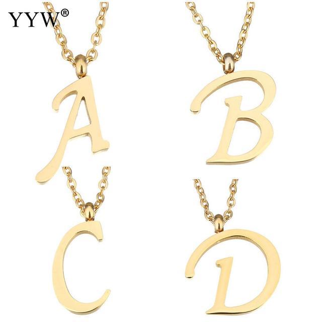 d534216e7e29 YYW mujeres hombres oro-color acero inoxidable joyería colgante collar  danza letra A Z alfabeto gota