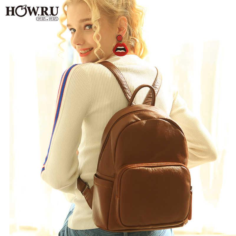 29e796959f7 HOWRU Women Leather Backpack Bag Vintage Mochila Black Brown High ...