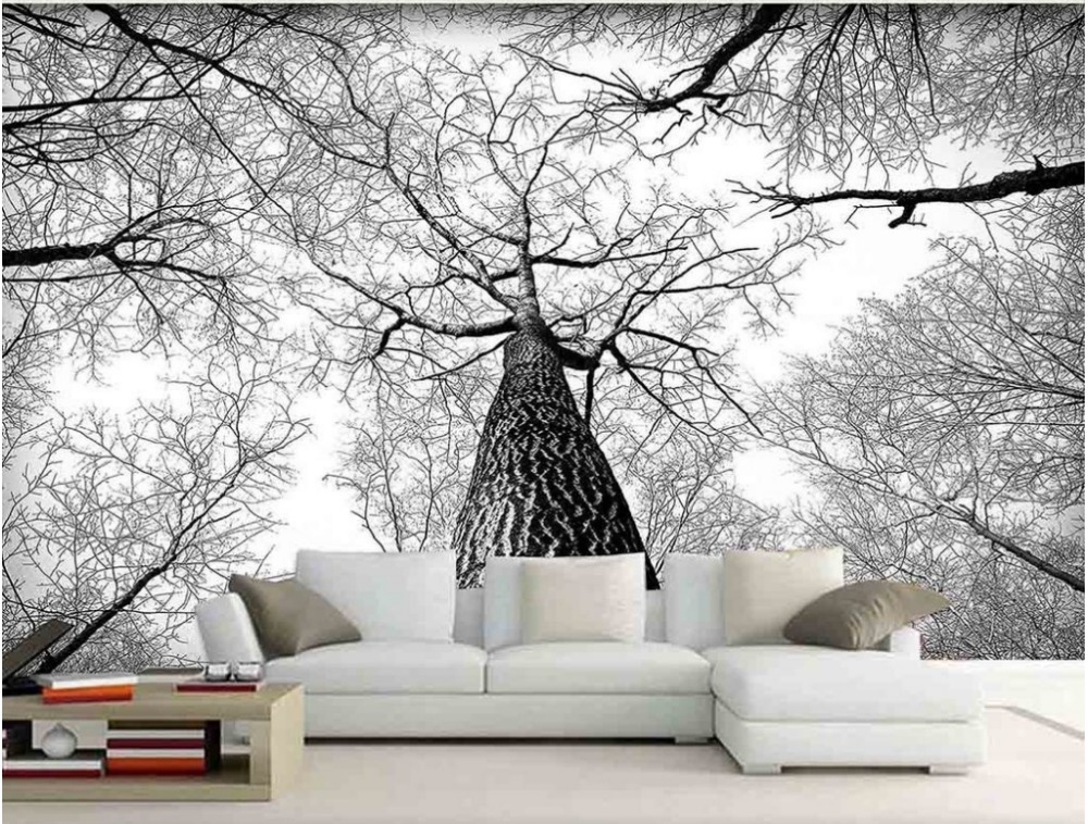 3d murals living room entrance mural wallpaper black and ForBlack And White Tree Wallpaper Mural