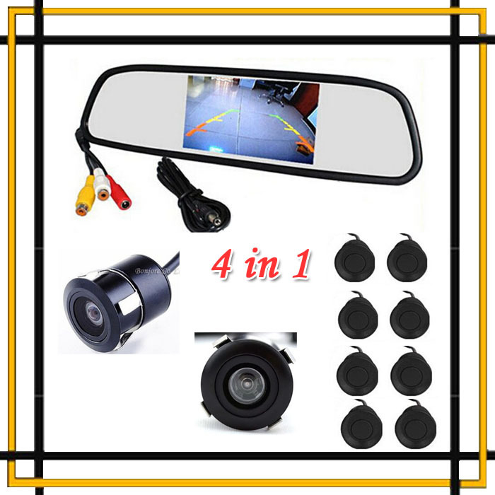 Parking Sensor 8 Redars BIBI Alarm Sound Monitor Mirror LCD Screen Front font b Camera b