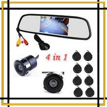 Sensor de aparcamiento 8 Redars BIBI sonido de la alarma + Monitor espejo de la pantalla LCD + cámara frontal + cámara de visión trasera de copia de seguridad Kit envío gratis