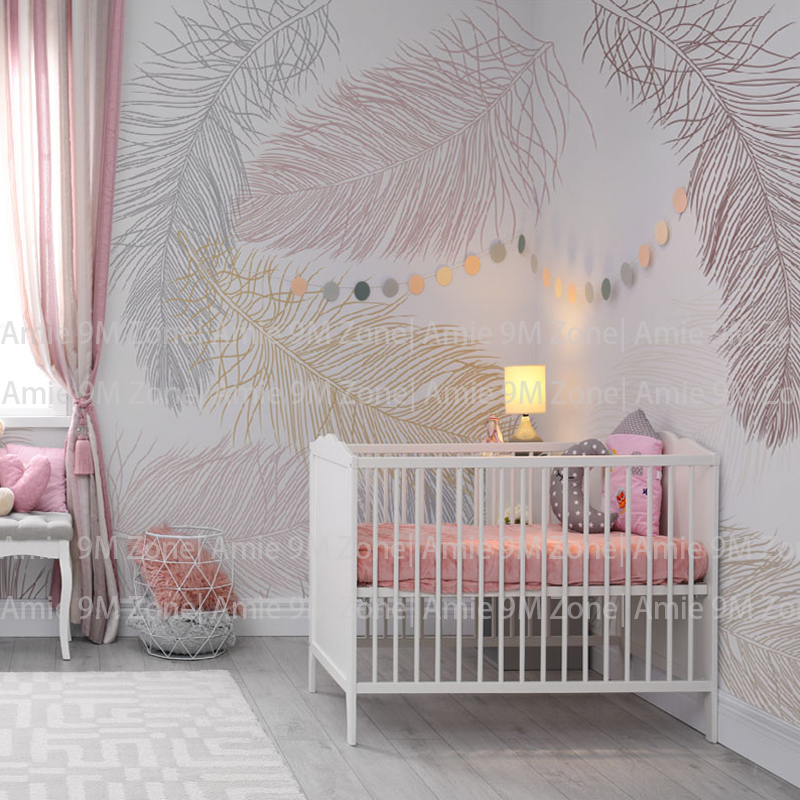 Us 16 79 40 Off Soft Pale White And Cream Color Feather Drawing Wall Background Decor Wallpaper Children Wallpapers Kid S Nursery Room In Wallpapers