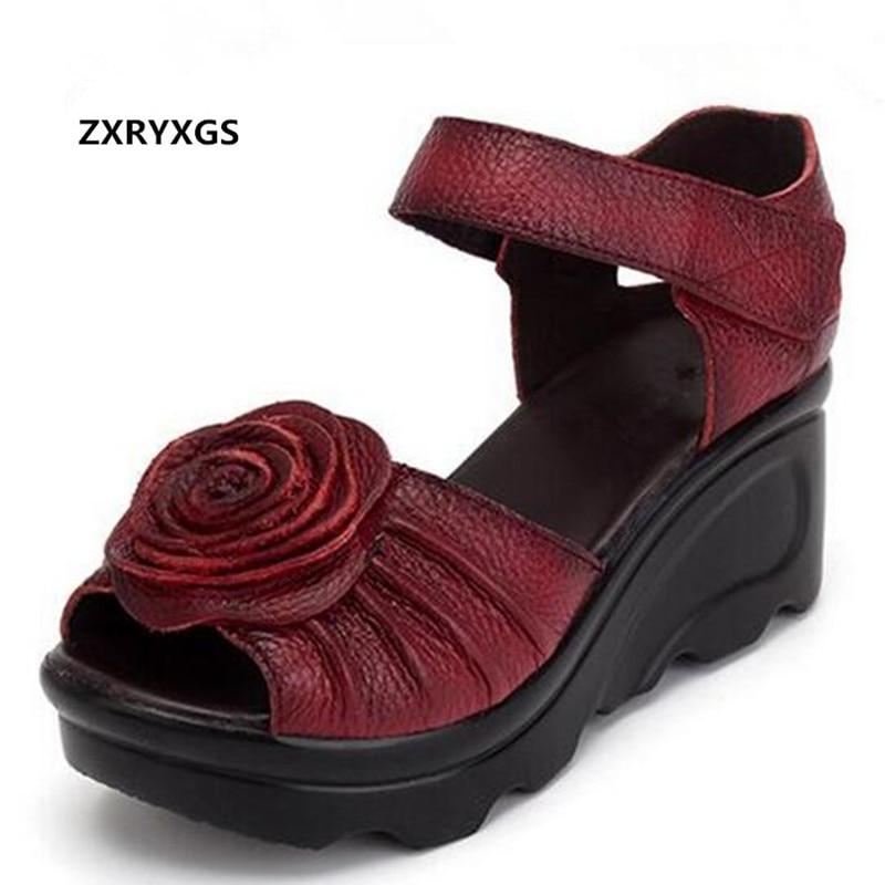 2019 New Summer Women Sandals Genuine Leather Shoes Comfortable Platform Wedges Sandals Retro Flower Fish Head Fashion Sandals