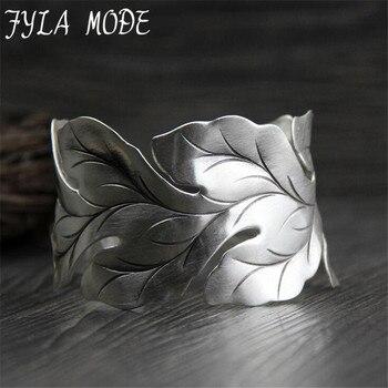 Fyla Mode Fashion Jewelry 925 Silver Arm Jewelry Leaf Shape Open Wide Cuff Bracelet Bangles for Women Men 33mm Width 42G WTB061