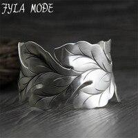 Fyla Mode Fashion Jewelry 999 Silver Arm Jewelry Leaf Shape Open Wide Cuff Bracelet Bangles for Women Men 33mm Width 42G WTB061