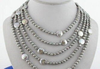 HOT 003361 100 14mm gray freshwater round coin pearl necklaceHOT 003361 100 14mm gray freshwater round coin pearl necklace