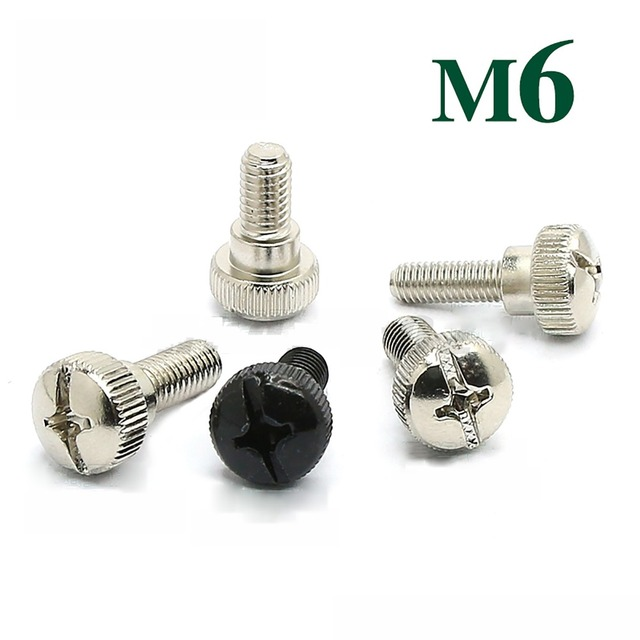 US $1 79 |5/10Pcs M6 Thumb Screw Thread Teeth Computer PC Case Toolless  Adjustment Screw Nickel Plating Black Zinc Length 10/12/14mm-in Screws from