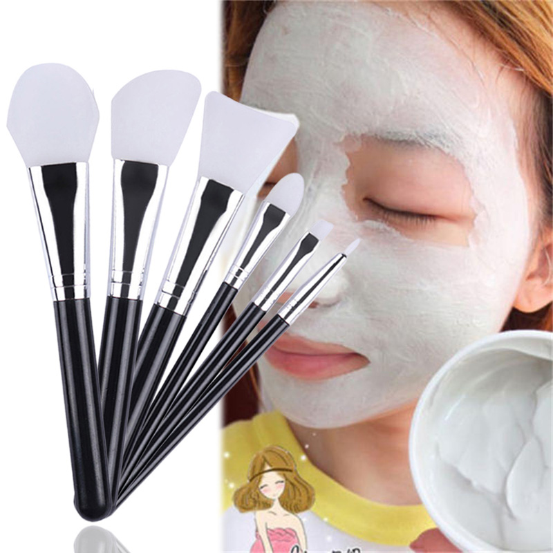 6Pcs/set Silicone Facial Brush Professional Mask Foundation Cream Concealer Eyeshadow Brush Cosmetic Brush Set Make Up Tool professional bullet style cosmetic make up foundation soft brush golden white