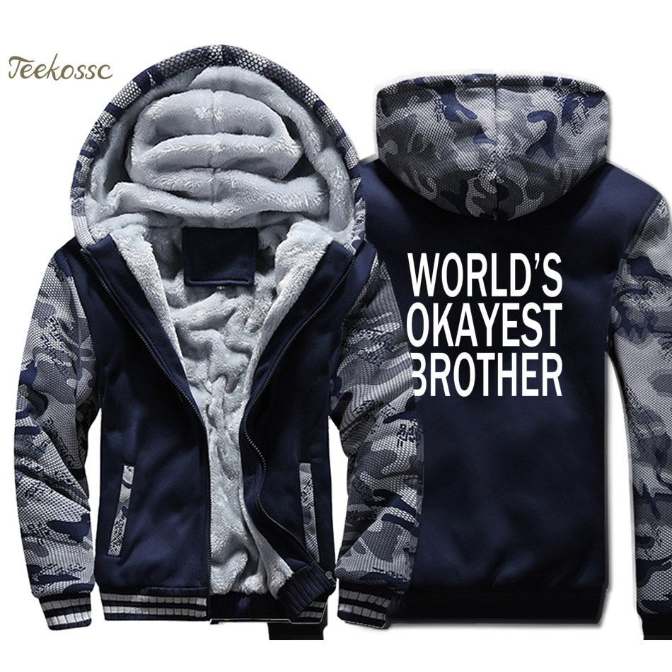 Worlds Okayest Brother Hoodie Men Funny Sweatshirt Coat Winter Thick Fleece Warm Zip up Big Brother Sister Gift Idea Jacket 4XL