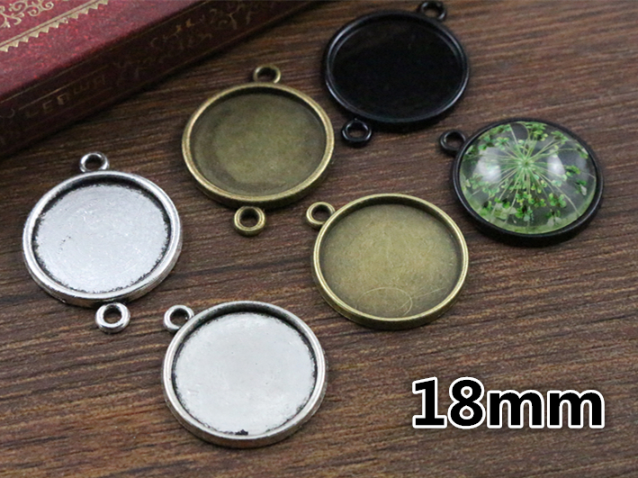 20pcs 18mm Inner Size Antique Bronze And Silver And Black Plated 6 Simple Style Cabochon Base Cameo Setting Charms Pendant 2pcs 20mm inner size antique silver and antique bronze colors plated brooch pin fish style cabochon base setting