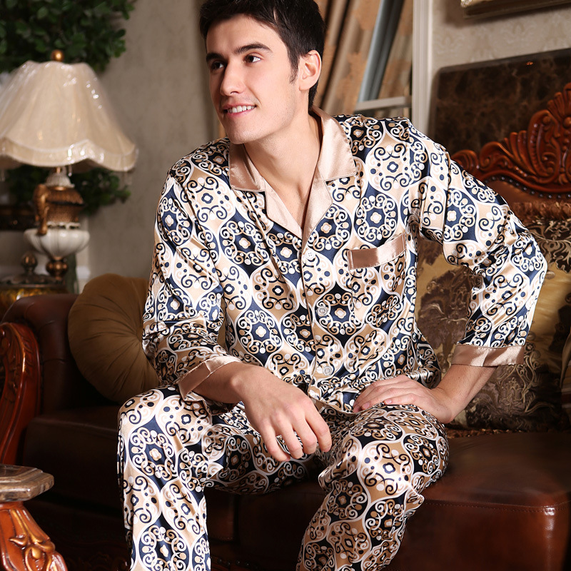 Wholesale Spring, Summer And Autumn Men's Sleepwear, Handsome And Luxurious Silk Men's Leisure Home Suit