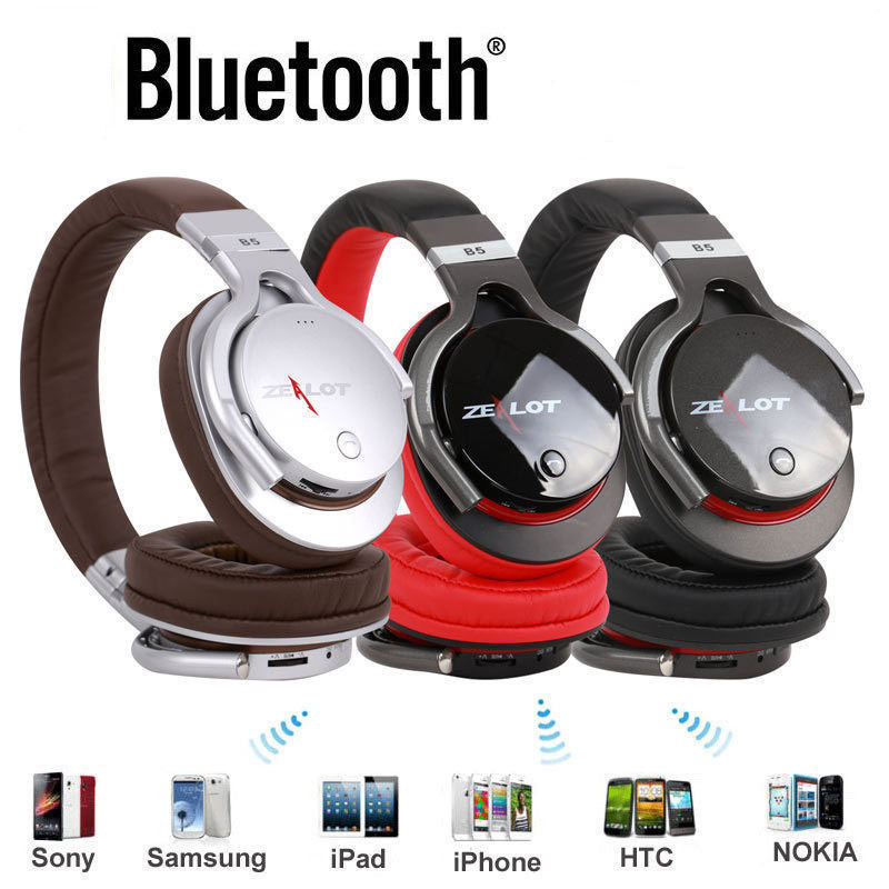 Original ZEALOT B5 HIFI Wireless Bluetooth 4.0 Stereo Headphones Mic handsfree calls MP3 music TF card headset zealot b20 stereo bluetooth headset hifi super bass wireless headphone handsfree with microphone for ios android phone