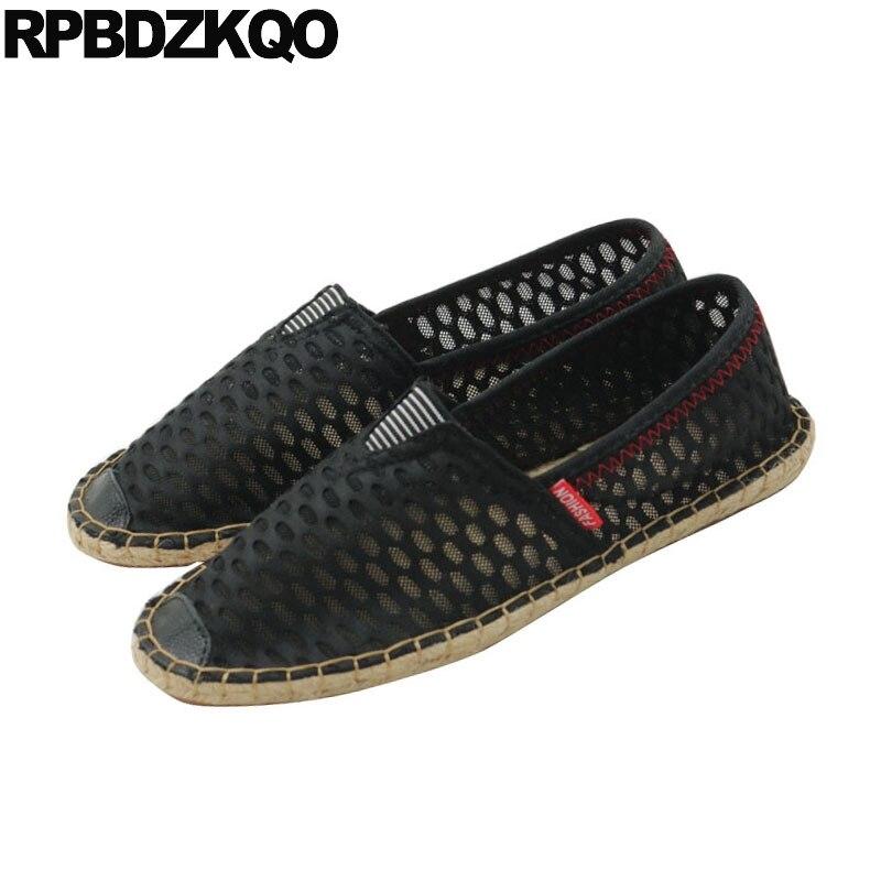 Moda Preto Malha De À Flats Alpercatas Homens Slip On Casuais Fashion Designer Sólido Sapatos Respirável Comfort New Verão 2018 Hemp UPzwqTfw