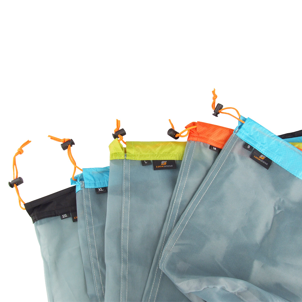 SUBITO M Size Travel Kits Ultralight Drawstring Mesh Stuff Sack Storage Bag Tavelling Camping Outdoor Laundry Cloth Pouch