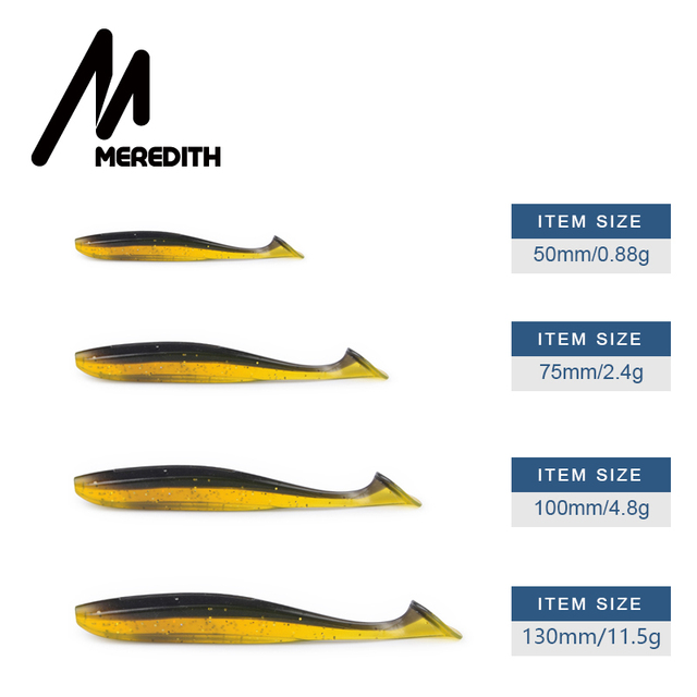 Meredith Easy Shiner Fishing Lures 50mm 75mm 100mm 130mm Wobblers Carp Fishing Soft Lures Silicone Artificial Double Color Baits 3