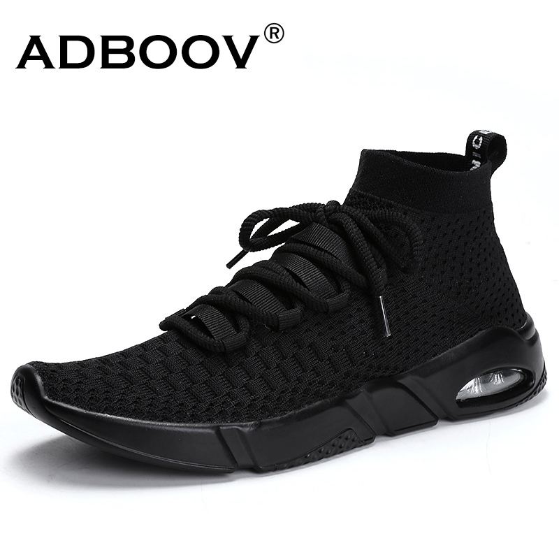ADBOOV New Air Sole High Top Sneakers Men Knit Breathable Zapatillas Hombre Casual Shoes Men Sapato Masculino Large Size 39-46