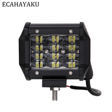 ECAHAYAKU Tri-row 4inch 36W 6000K 12V Car Led Work Light Bar IP68 Driving Beam Pods for Offroad 4x4 SUV ATV Trailer Trucks