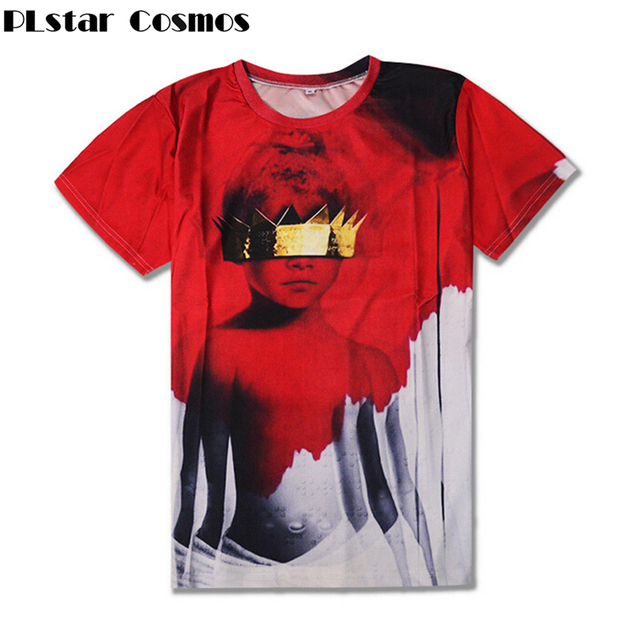 d01661d4d8887 US $10.0 30% OFF|PLstar Cosmos 2017 New Women Men T shirts Rihanna Anti  Sublimation 3d print T Shirt Summer Style casual t shirt Free Shipping-in  ...