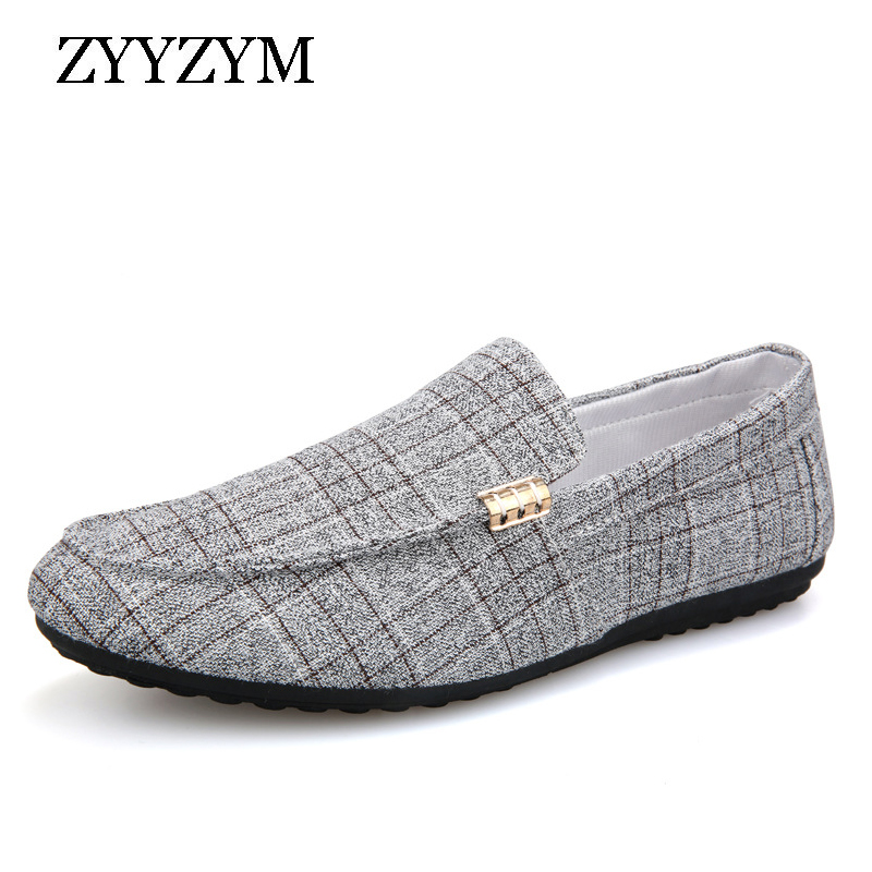 ZYYZYM Men Casual Shoes 2019 Spring Summer Men Loafers New Slip On Light Canvas Youth Men Shoes Breathable Fashion Flat Footwear(China)