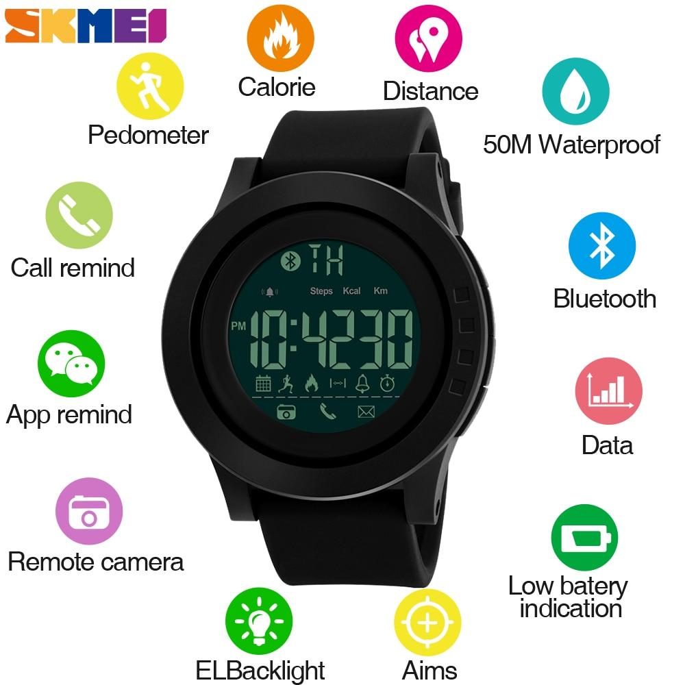 SKMEI férfiak sport intelligens órák lépésszámláló kalóriatartalmú Bluetooth órák Hívás emlékeztető Smartwatch ios Android telefonhoz