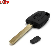 цена на HKOBDII Wholesale Blank Key Case/Flip Car Key Shell/Transponder key Cover with 4D63 chip for Ford Focus