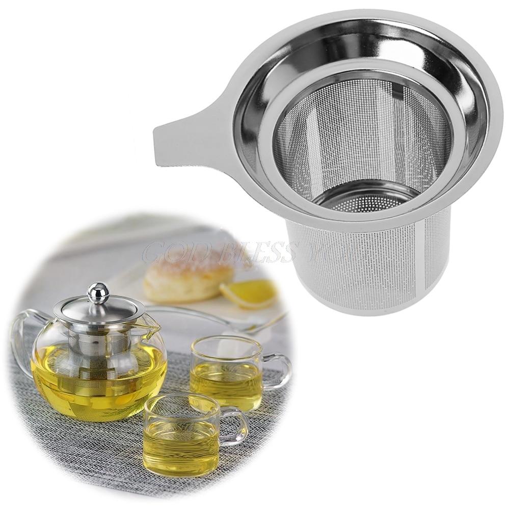 جديد 1 قطعة شيك المقاوم للصدأ شبكة الشاي infuser المعادن كأس مصفاة الشاي ورقة تصفية غربال