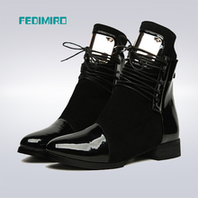 Women Boots Genuine Leather Flat Martin Ankle Boots Womens Motorcycle Boots Autumn Shoes Women Winter Patent leather Botas 35-43