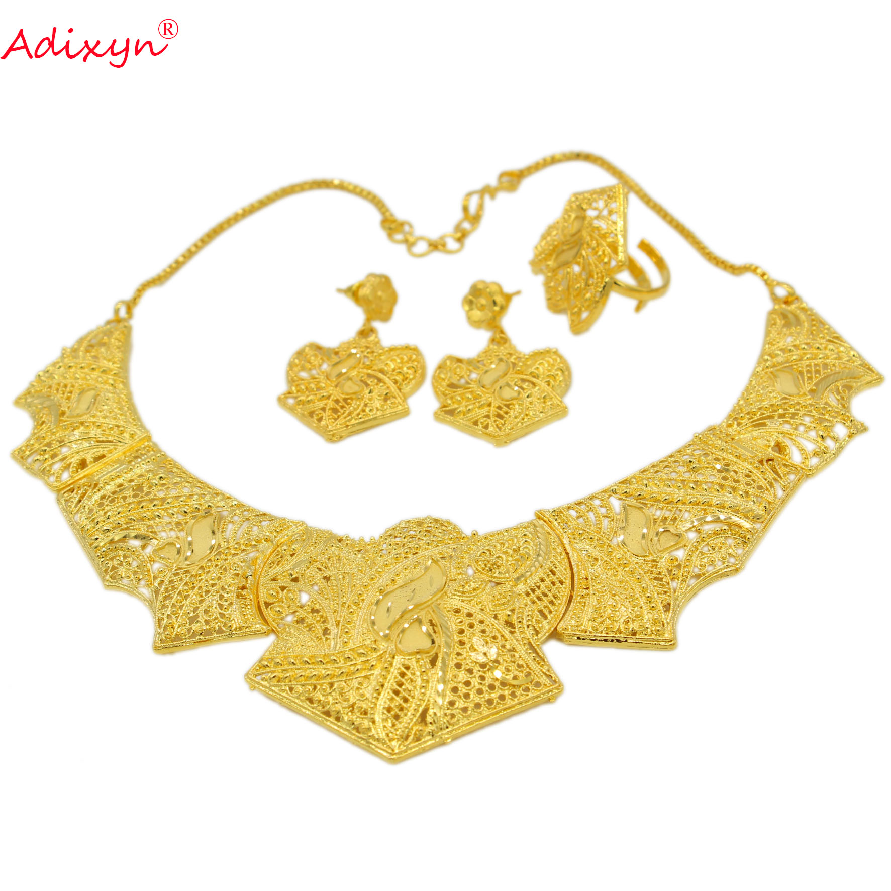 New Necklace Ring Earring Jewelry Set For Women Girls Gold Color Copper Heart African Ethiopian Dubai New Necklace/Ring/Earring Jewelry Set For Women/Girls Gold Color/Copper Heart African/Ethiopian/Dubai Wedding/Party Item N071212