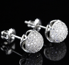 Brazil Classical Bijoux Luxury Bling White Cubic Zirconia Micro Pave Party Jewelry 925 Sterling Silver Women Ball Stud Earrings