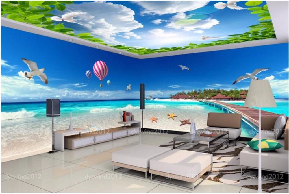 3custom Mural Photo 3d Wallpaper Maldives Ocean Wood Bridge