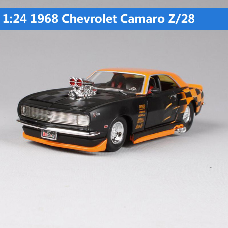 1:24 Scale Fast and furious 1965 Chevrolet Malibu SS 1968 Camaro Z/28 diecast cars styling model toys muscle toys for children revell model 1 25 scale 85 7457 69 camaro z 28 rs plastic model kit