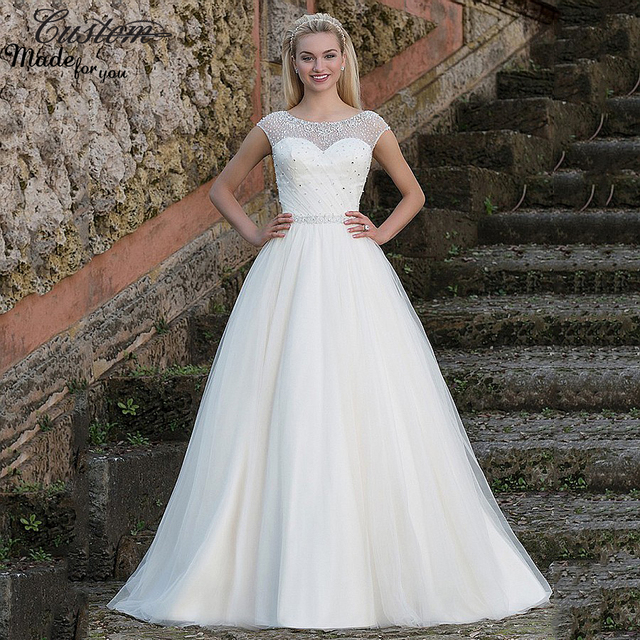 Victorian A line Civil Bridal Gowns Sheer Cap Sleeves Tulle Princess ...