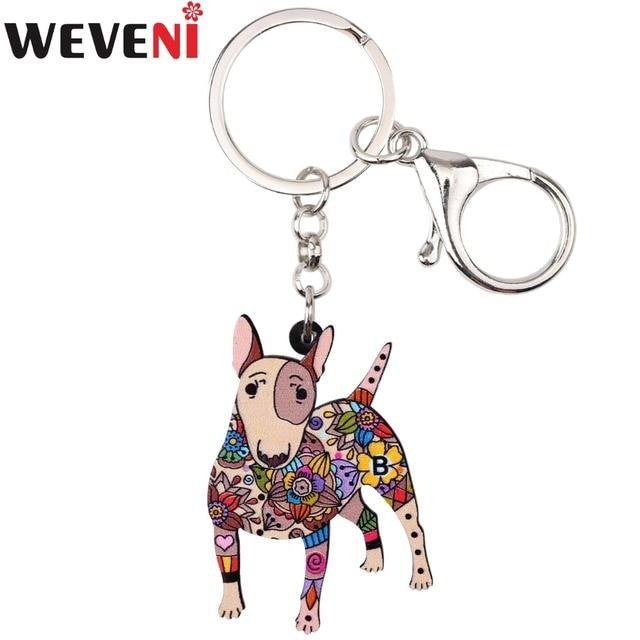 WEVENI Akrilik Orijinal Bull Terrier Köpek Anahtarlık Anahtarlık çanta uğuru Adam Araba Kolye Bildirimi Sıcak Trendy Takı Için Kadın