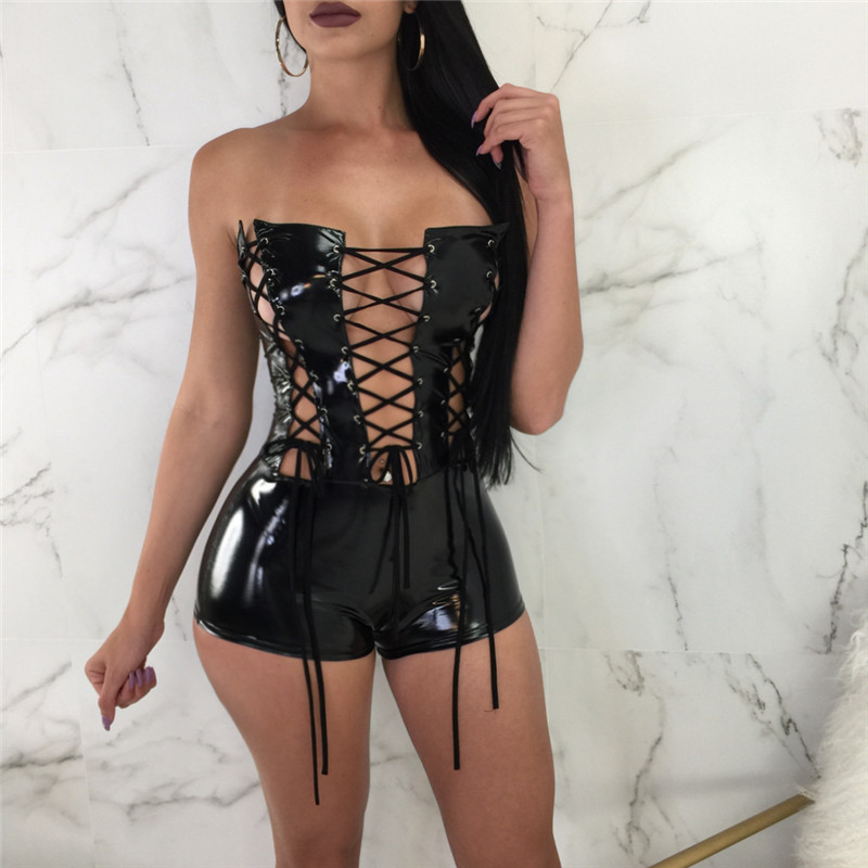 2018 Off Shoulder Sexy Lace Up Bodysuits Party Club Wear Summer Women Rompers