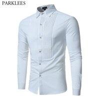 Solid Color Men Shirt Tuxedo Shirts Bridegroom Wedding Shirts Long Sleeve Slim Fit Casual Mens Dress Shirts Camisa Masculina XL