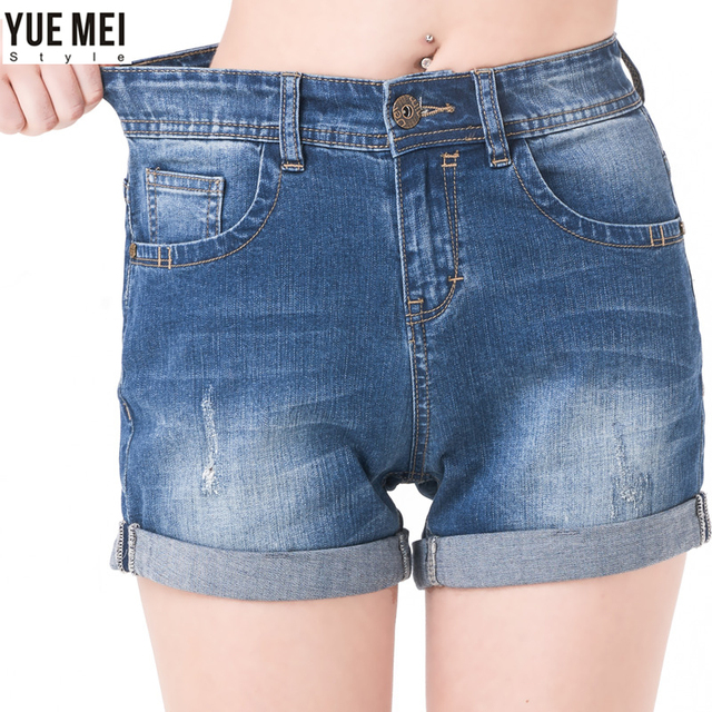 2016 Summer Loose shorts women Washed Bleached Boyfriend denim shorts Plus Size Femme Jeans for women short