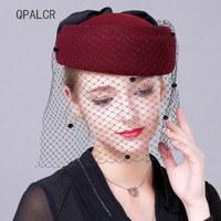 QPALCR Elegant Wool Felt Fedoras Hats For Women Veil Pillbox Hat Cocktail Party Wedding Hat Winter Female Berets Church Cap