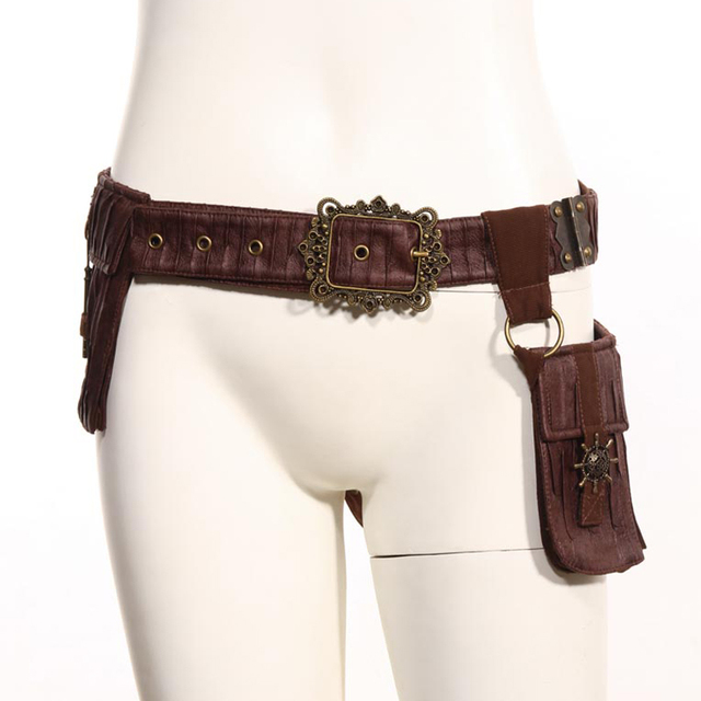 Retro Brown Steampunk Rock Waist Bags Packs Victorian Style Women Leg Thigh Holster Bag Leather Belt Bag