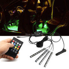 Car RGB LED Light Wireless Remote/Music/Voice Control Door Lamp Strip Decorative Atmosphere Lights 2 Styles For Choose
