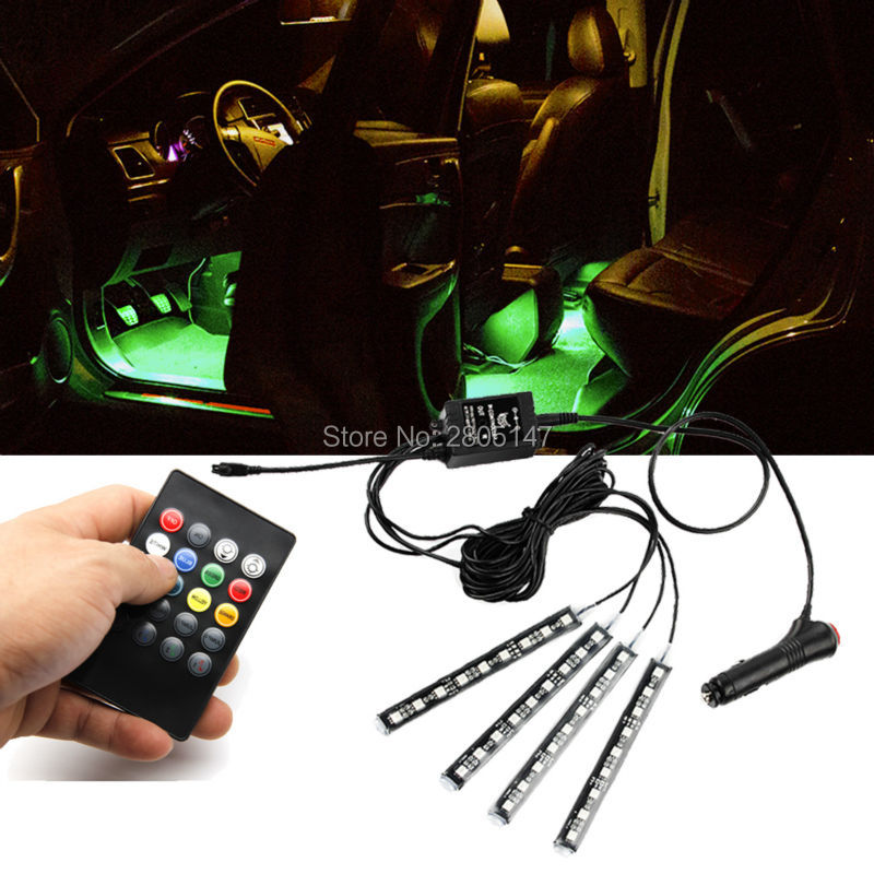 Car RGB LED Light Wireless Remote/Music/Voice Control Door Lamp Strip Decorative Atmosphere Lights 2 Styles For Choose 2 pcs fc barcelona wireless led car door projectors