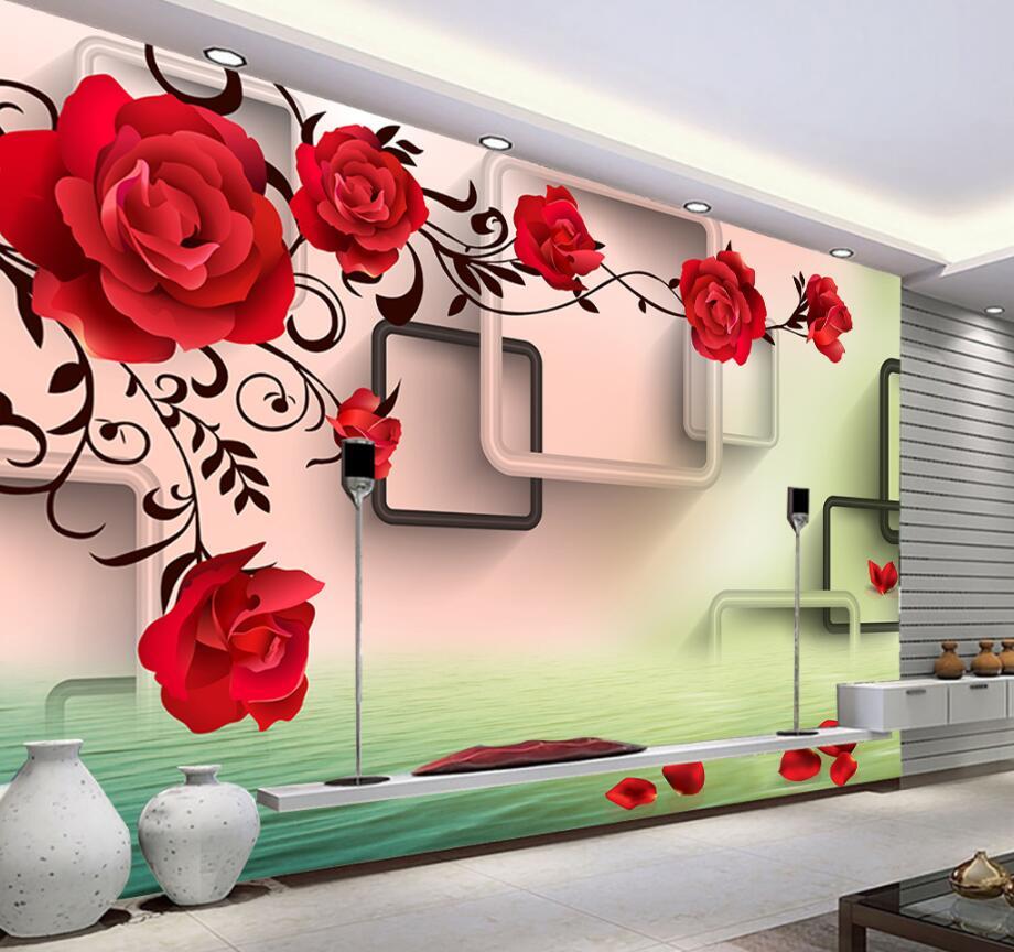 Beibehang Custom Wallpaper Home Decorative Mural 3d Rose Petal Reflected TV Background Wall 3d Living Room Bedroom 3d wallpaper