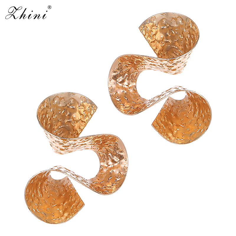 ZHINI Special Design Alloy Gold&Silver Plated Stud Earrings Vintage Jewelry for Women Punk Slippy Metal Statement Earrings Charm