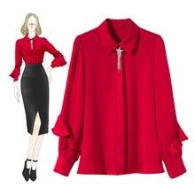 High quality Ruffles womens Shirt tops Chic elegant Chiffon Shirts & Blouses D994