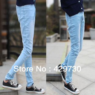 New Branded Men s Jeans Fashion Classic Light Blue Pencil Pants Trousers  Males Cotton Slim Skinny Jeans Size 27~34 1081 3bfa77adc