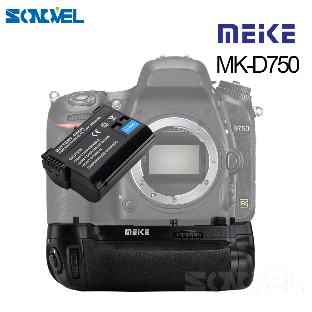 MEIKE MK-D750 Battery Grip Pack Replacement MB-D16 With 1pcs EN-EL15 Battery for Nikon D750 DSLR Camera meike mk dr750 built in 2 4g wireless control battery grip for nikon d750 as mb d16 wireless remote
